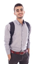 Young man wearing bag, isolated on white