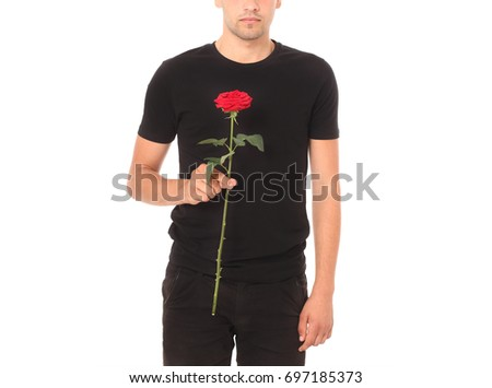 01ec2bb1 Young man wearing blank black t-shirt isolated on white background. Copy  space. Shirt design and people concept - close up ...