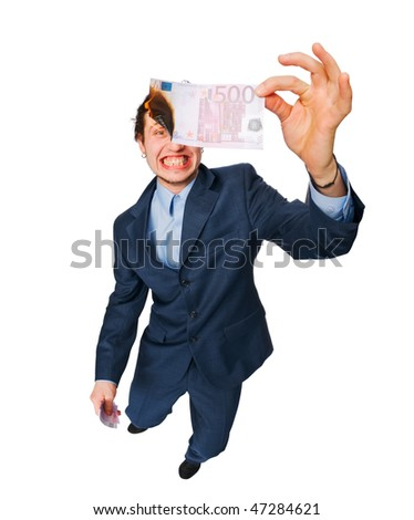 Young man wearing business suit burning euro banknote isolated on white