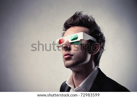 Young man wearing 3d-glasses