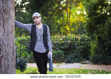 Young man wearing spring italian clothes - stock photo