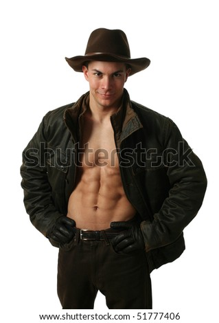 Young man wearing winter clothes showing his abs isolated on white