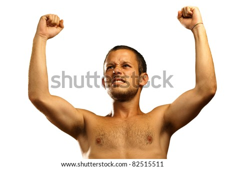 young man winner on a white background
