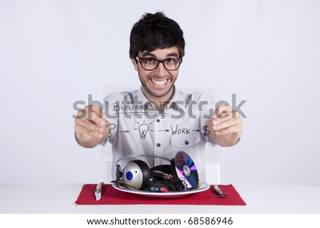 young man with a good marketing business plan for the music industry - stock photo