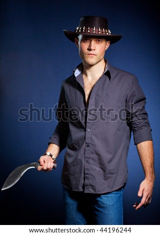 Young man with a knife