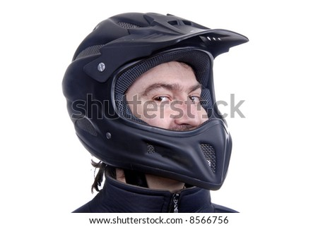 young man with a motorcycle black helmet