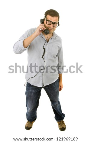 young man with a phone and glasses, isolated on white