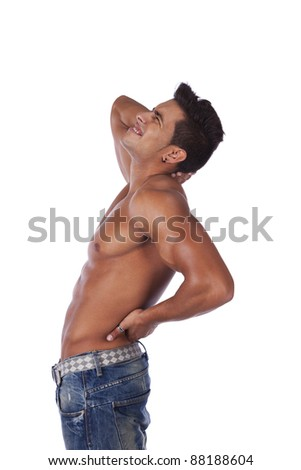 Young man with back and neck pain (isolated on white)
