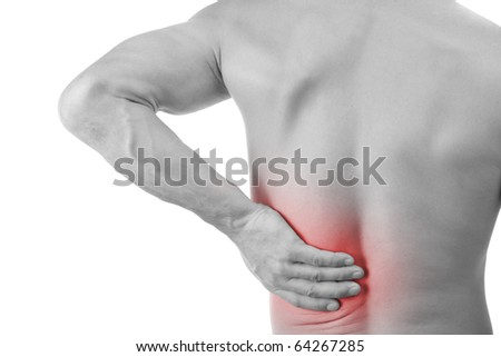 Young man with back pain, isolated in white