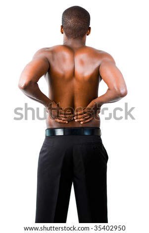 Young man with back pain isolated on white