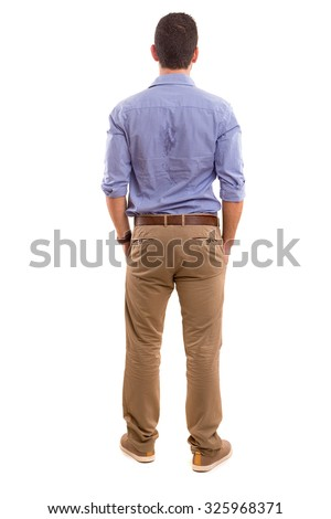 Young man with back turned to camera #325968371