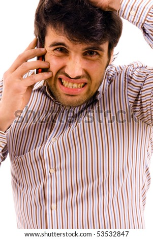 young man with bad news on his cell phone