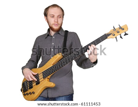 young man with beard in grey shirt playing bass guitar, half body, horizontal, isolated
