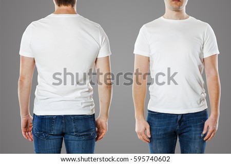 Young man with blank t-shirt template #595740602
