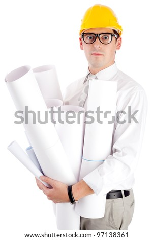 Young man with blueprints. Isolated over white.