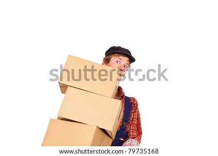 Young man with cap carrying parcels - isolated
