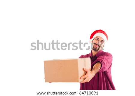 Young Man with Christmas Hat Holding a Box