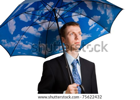 Young man with clouds on his umbrella