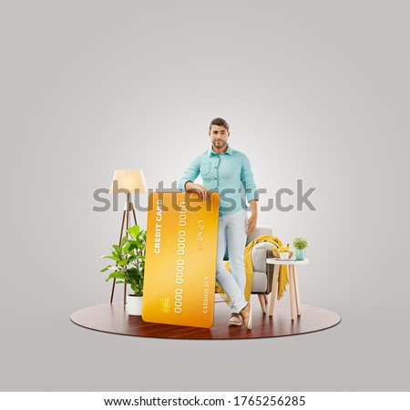 Young man with credit card at his home. Unusual 3d illustration