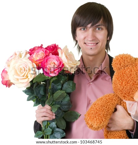 Young man with gifts for valentines day and credit card