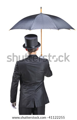 Young man with gloves holding an umbrella isolated on white background