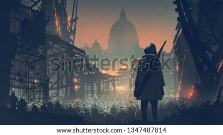 young man with gun looking at crowd of people in apocalyptic city, digital art style, illustration painting
