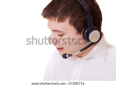 young man with headset on white background