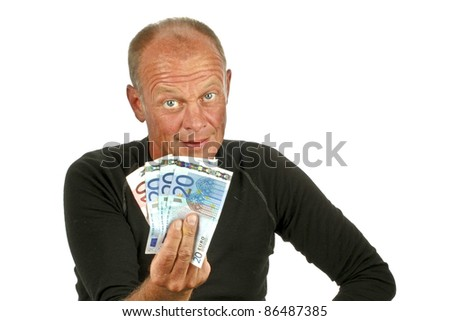 Young man with his money