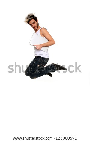 young man with notebook in the air isolated on a white background