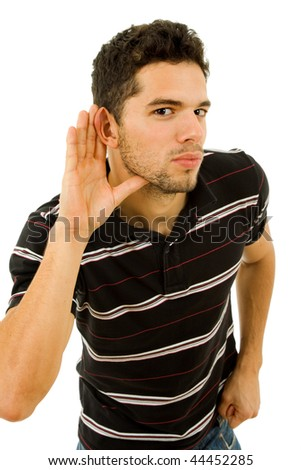 young man with open hand, hearing something