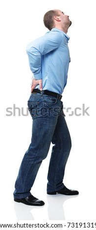young man with pain in his back isolated on white
