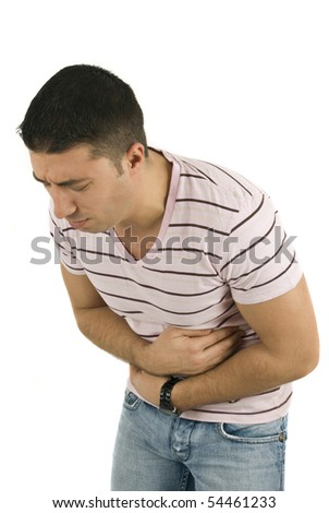 Young man with problems stomach ache isolated on white background