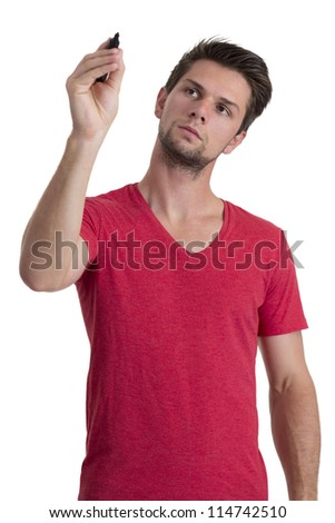 Young man with red t-shirt writing with permanent marker - stock photo