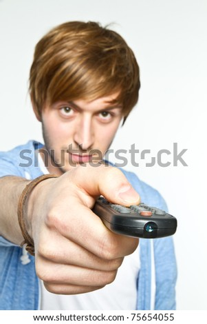 young man with remote control
