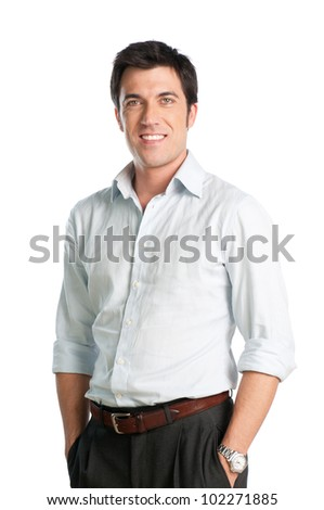 Young man with shirt smiling and looking at camera isolated on white background