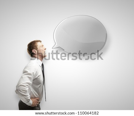 young man with  speech bubble - stock photo