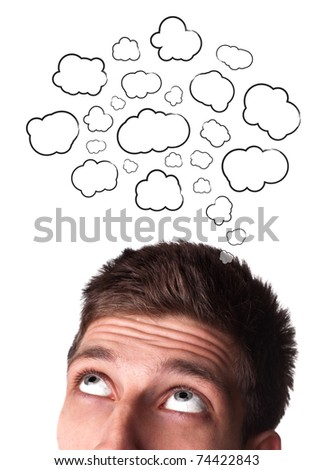 Young man with Speech Bubbles over his head, isolated on white background - stock photo
