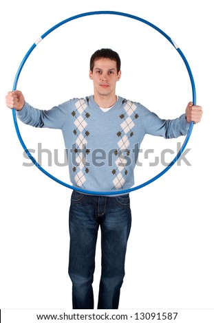 Young man with sport hoop isolated on white - stock photo