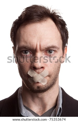 young man with tape covering his mouth on white