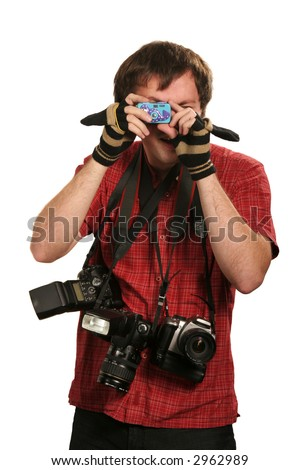 young man with three cameras on his neck and one in his hands