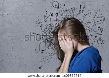 Young man with worried stressed face expression with illustration