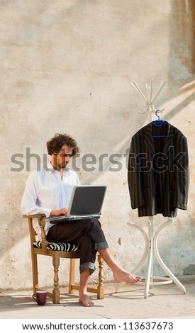 young man working in outdoor