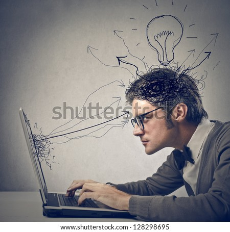 young man working on laptop