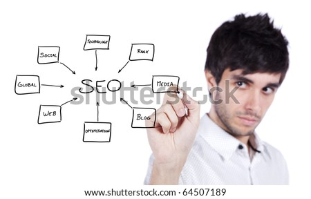 Young man writing a SEO schema on the whiteboard (selective focus)