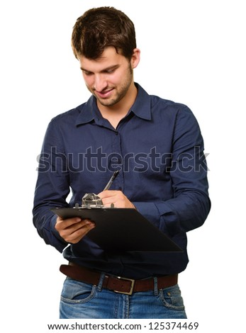 Young Man Writing On Clipboard Isolated On White Background