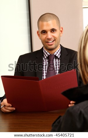 Young manager in a job interview