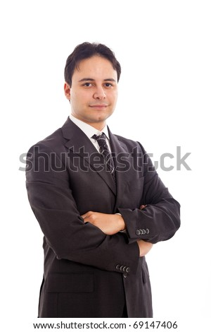 Young manager portrait isolated on white