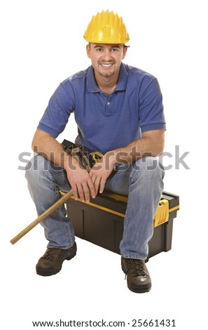 young mantool sit on tool box isolated on white