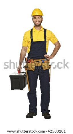 young manual worker with tool box isolated on white background