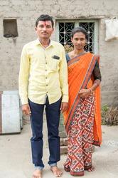 Young married couple closeup in rural village Salunkwadi, Ambajogai, Beed, Maharashtra, India, Southeast Asia